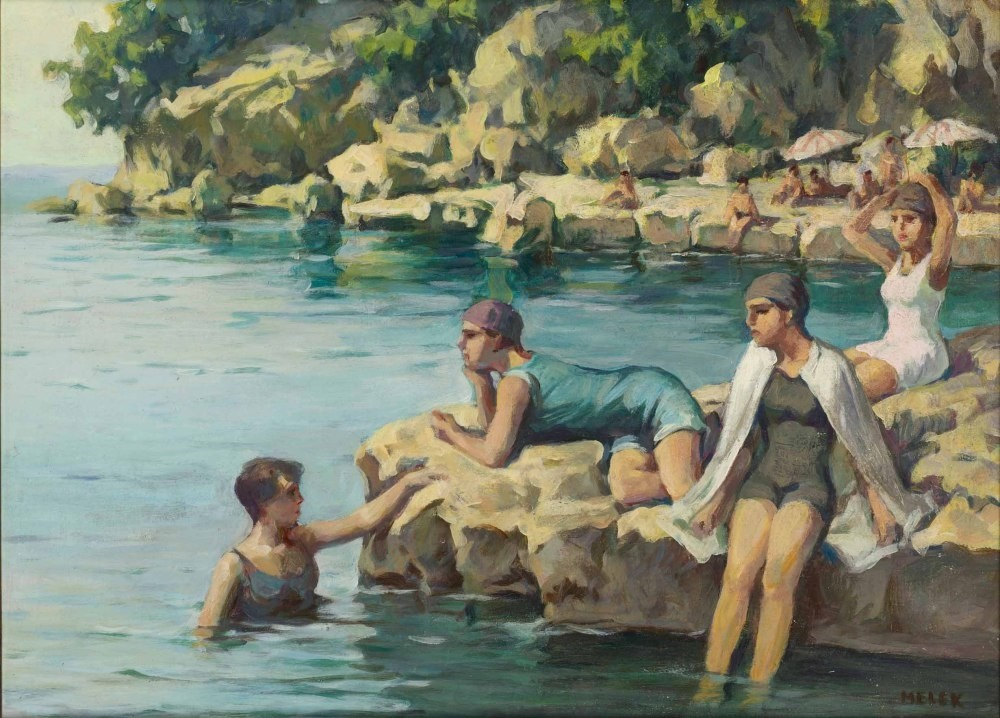 Melek Celal Sofu (1896-1976), u201cWoman at Moda Bay,u201d oil on hardboard, 53x71 cm.