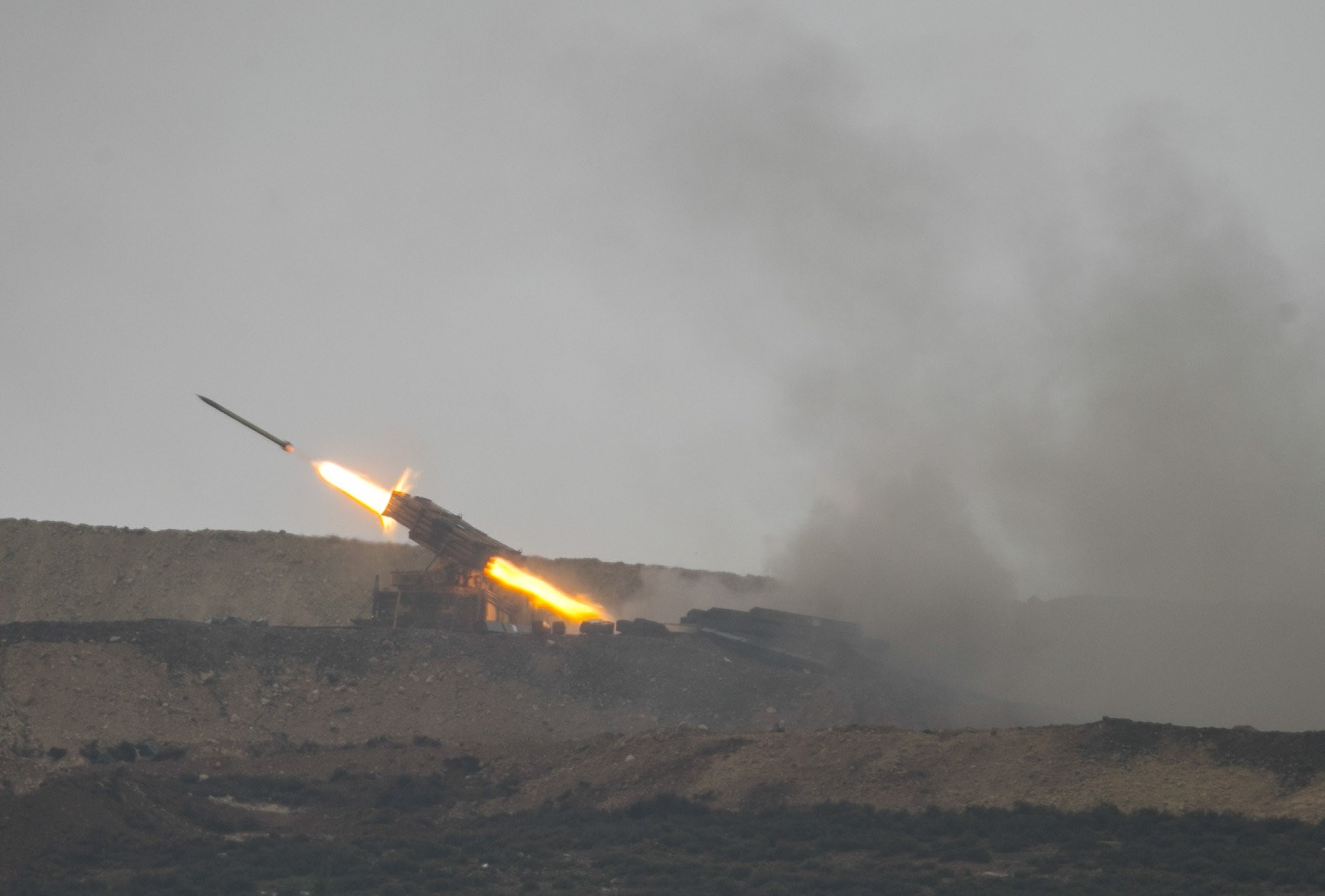 The Turkish military targets YPG-held areas in the northern Syrian province of Afrin with howitzers during Operation Olive Branch, Jan. 24.