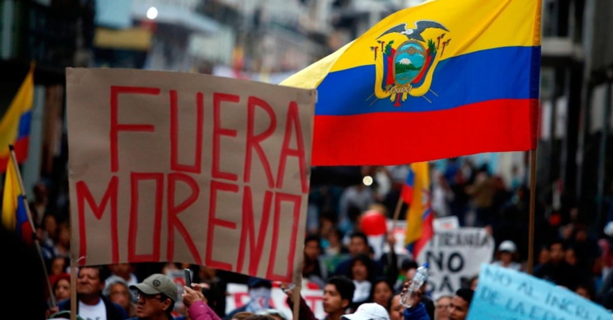 People protest against Ecuadorian President Lenin Moreno's government in Quito on April 16, 2019. (AFP Photo)