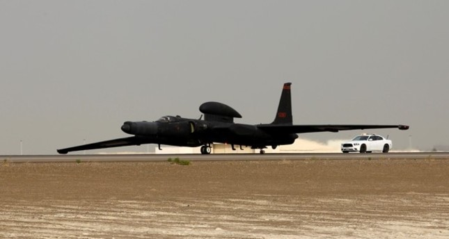 A U.S. Air Force U-2 Dragon Lady from 380th Air Expeditionary Wing lands at an undisclosed location in the Middle East after a mission in support of Operation Inherent Resolve on March 13. Reuters Photo