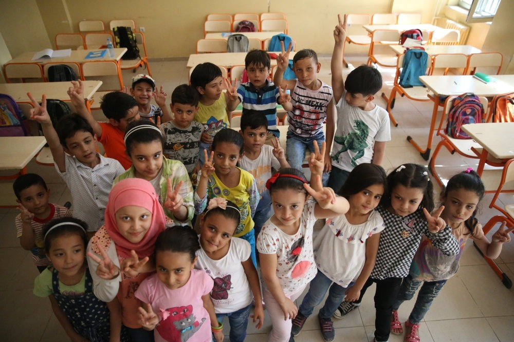 Syrian refugee children at a school in the southeastern city of u015eanlu0131urfa. Turkey offers access to education, health and other public services for more than 3.5 million refugees from Syria.