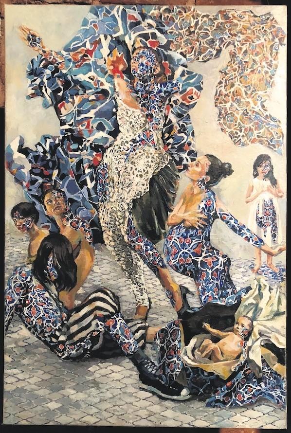 u201cMetamorphosisu201d (2017) by Zahra Ebrahimi, mixed media on canvas, 50 x 75 cm.