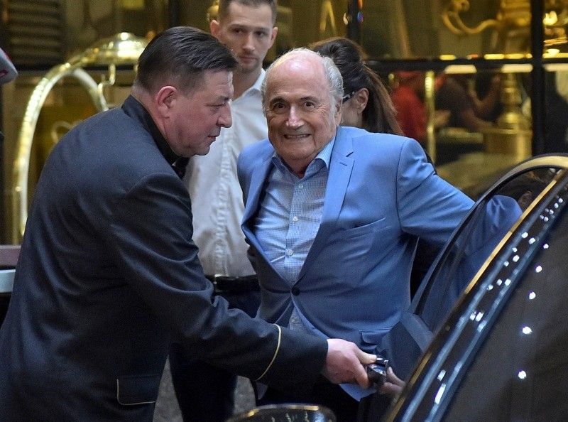 Former FIFA President Joseph Blatter arrives at a hotel in Moscow, Russia, Tuesday, June 19, 2018. (AP Photo)