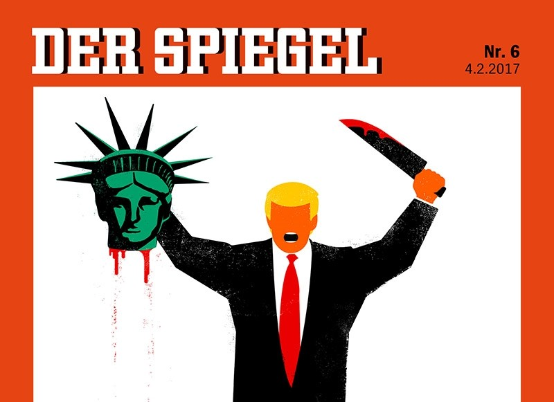U. S. President Donald Trump is depicted beheading the Statue of Liberty in this illustration on the cover of the latest issue of German news magazine Der Spiegel. (Reuters Photo)