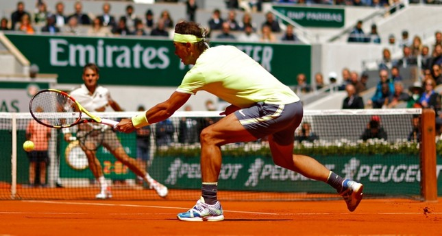 Spain's Rafael Nadal in action during his semifinal match against Switzerland's Roger Federer in Roland Garros French Open semi-final match in Paris, France, June 7, 2019. (Reuters Photo)