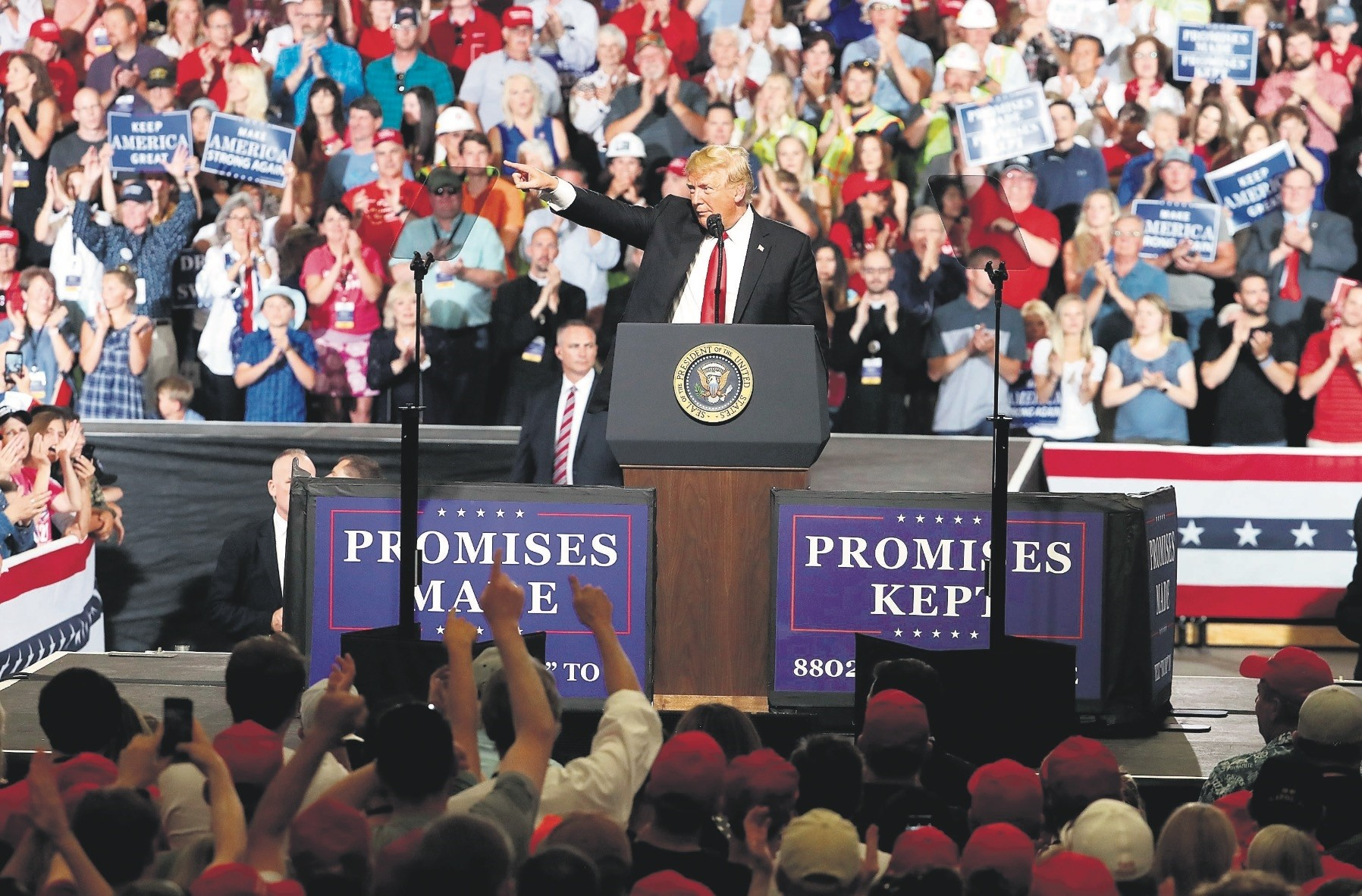U.S. President Donald Trump speaks during a campaign rally at the Four Seasons Arena, Great Falls, Montana, July 5.