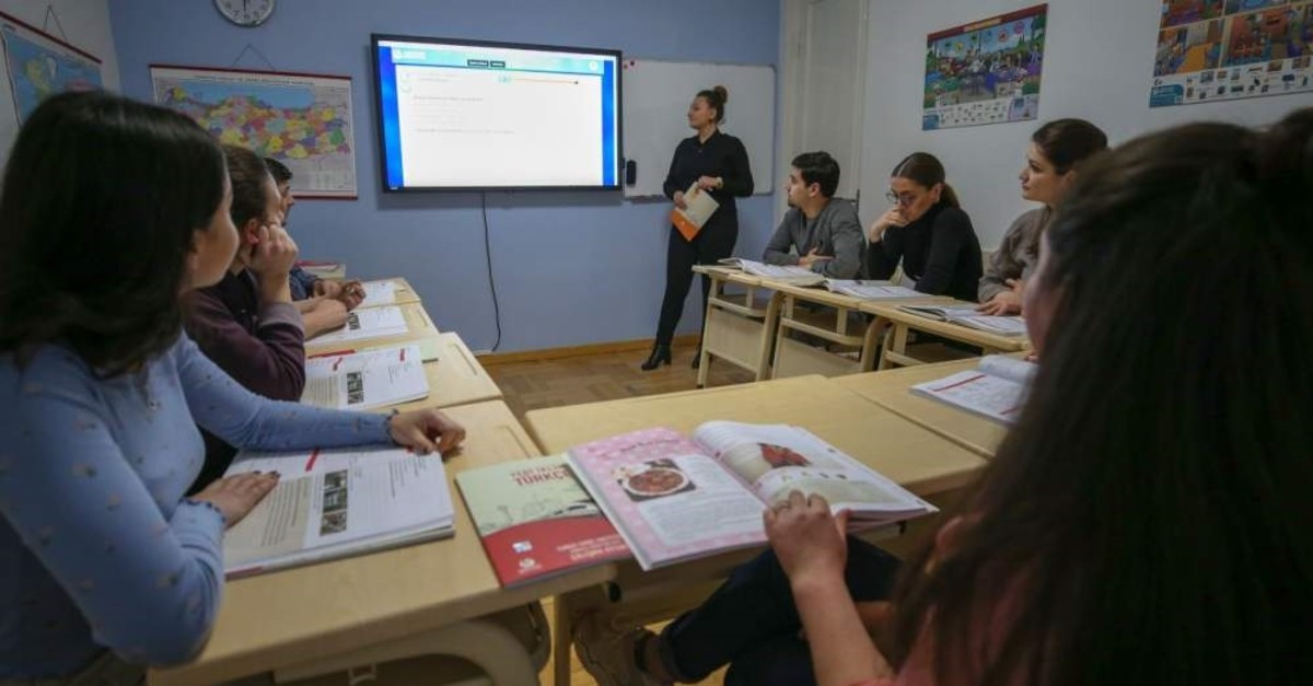 Undated photo of students attending a Turkish course at Yunus Emre Institute's campus in the Georgian capital Tbilisi.