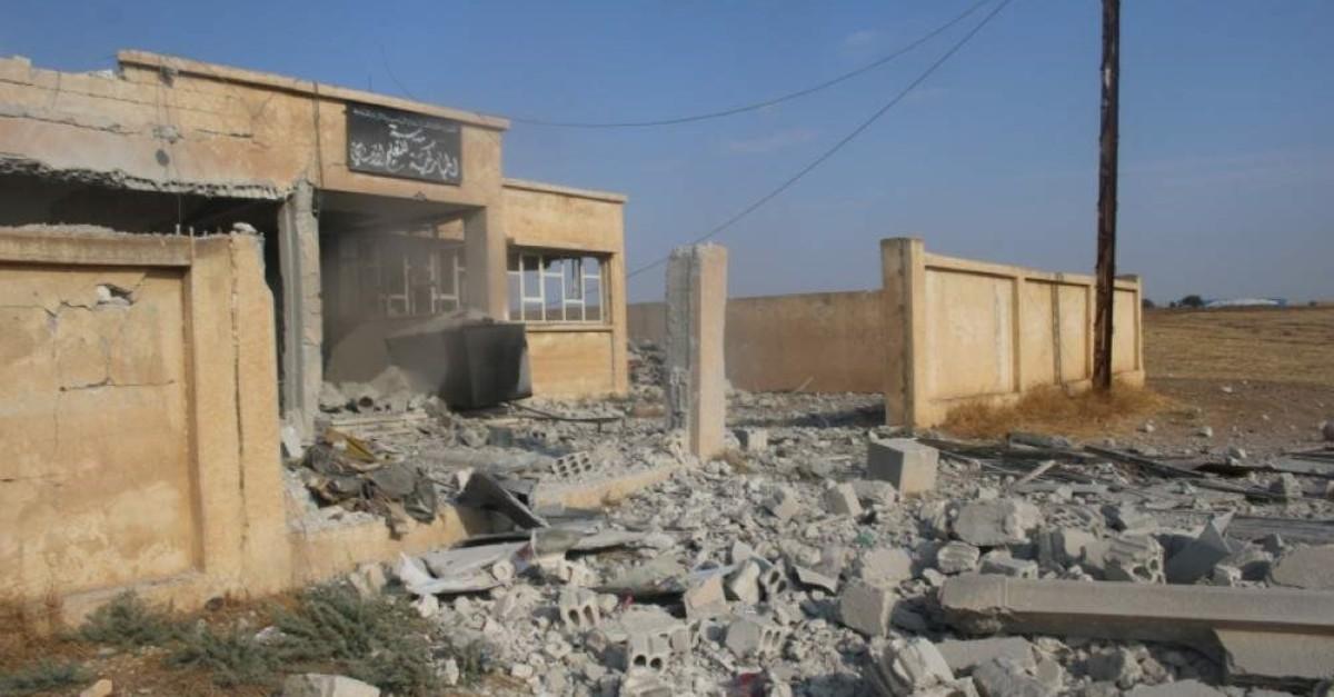 A school destroyed by YPG terrorists in Syria's Ras al-Ayn (IHA Photo)