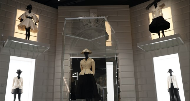 Haute couture Spring/Summer 1947 designs by Christian Dior on display at V&A Museum in London, Jan. 30, 2019.