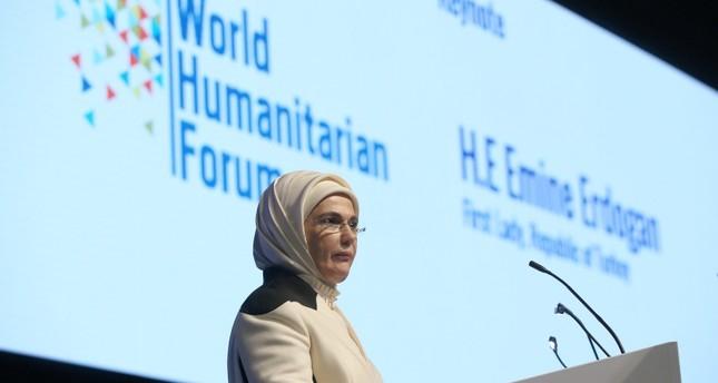 السيدة الأولى تلقي خطابا في المنتدى الإنساني العالمي لندن (الأناضول)