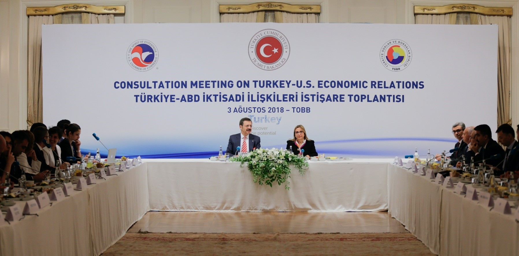 Trade Minister Ruhsar Pekcan (R) and Union of Chambers and Commodity Exchanges of Turkey (TOBB) Chairman Hisarcu0131klu0131ou011flu (L) met with the representatives of 30 U.S. companies operating in Turkey