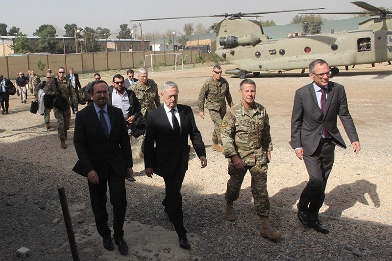 US Defense Secretary Jim Mattis (2nd L) arrives at NATO's Resolute Support mission in Kabul on Sept. 7, 2018. (AFP Photo)