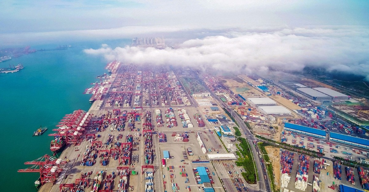 An aerial view of a port in Qingdao in Chinau2019s eastern Shandong province, May 14, 2019.