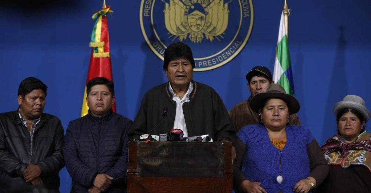 Bolivian President Evo Morales speaks during a press conference at a military base, El Alto, Nov. 10, 2019. (AP Photo)