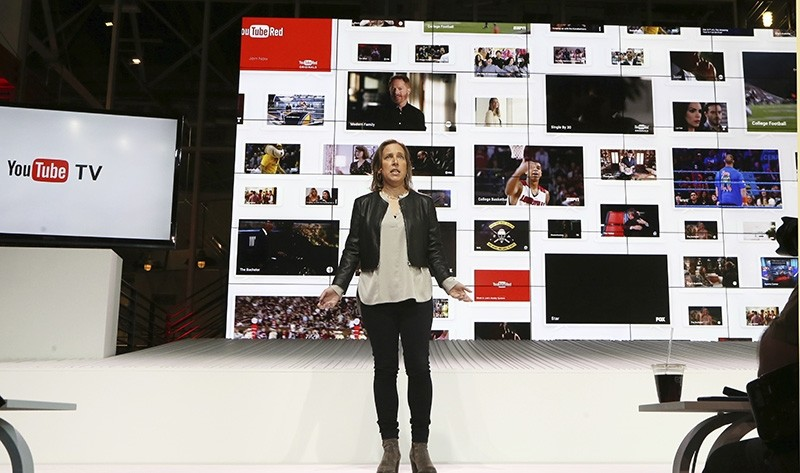 YouTube CEO Susan Wojicki speaks during the introduction of YouTube TV at YouTube Space LA in Los Angeles, Tuesday, Feb. 28, 2017 (AP Photo)