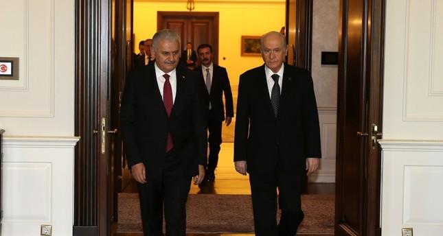 Prime Minister Binali Yıldırım L and opposition Nationalist Movement Party MHP leader Devlet Bahçeli came together on Thursday in Ankara.