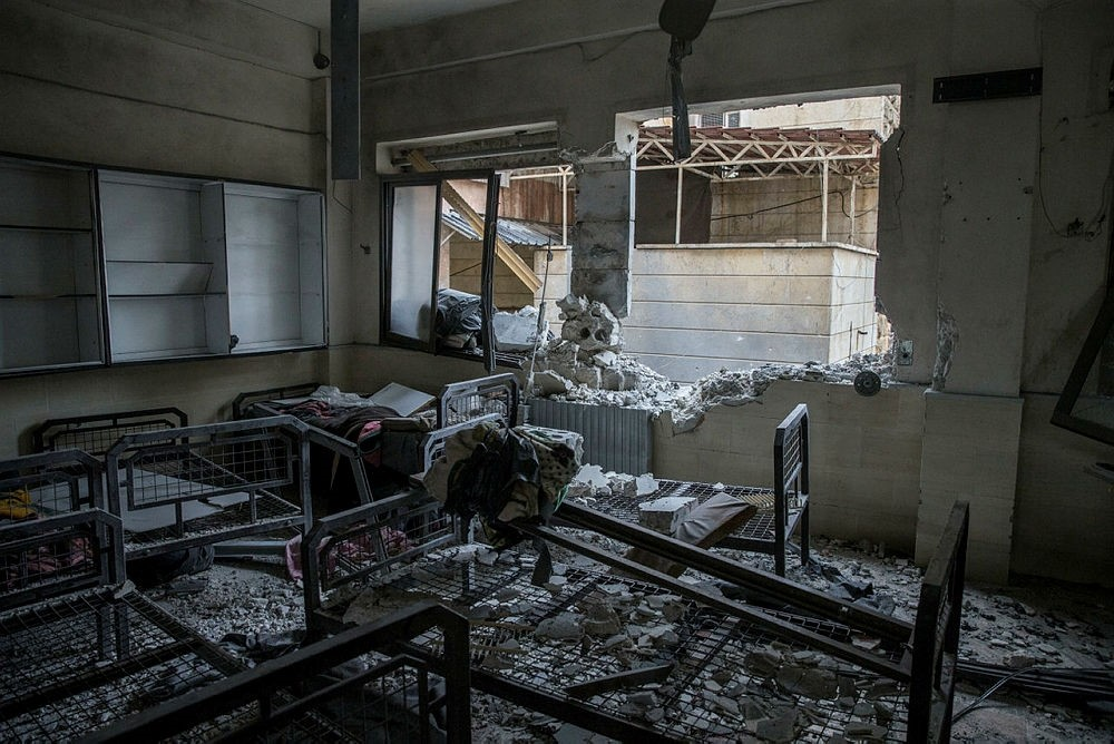 Aftermath of a YPG attack on a mental hospital in Syria's Azaz on January 19, 2018. (AA Photo)