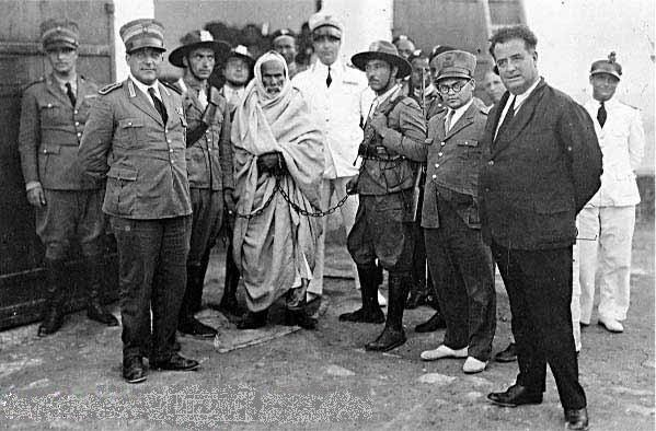 Omar Mukhtar being taken away after he was arrested by occupation powers.
