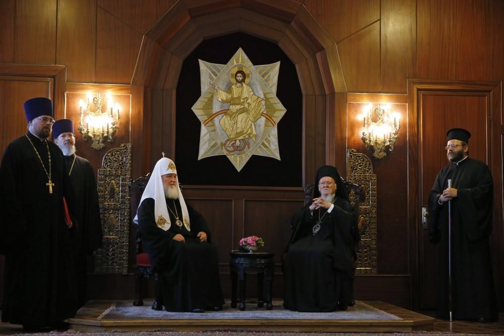 Patriarch Kirill (L) and Bartholomew (R) met at Fener Greek Orthodox Patriarchate on Friday.
