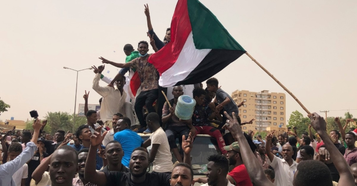 Sudanese shout slogans during a demonstration against the military council, in Khartoum, Sudan, Sunday, June 30, 2019. (AP Photo)