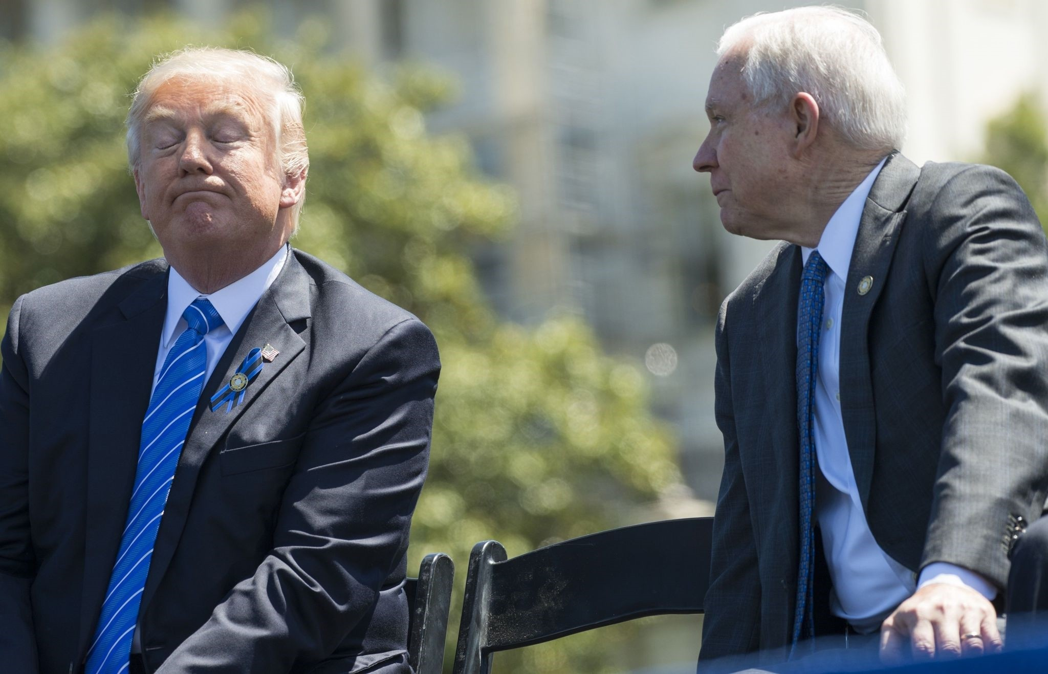 File photo taken on May 15, 2017 shows US President Donald Trump with Attorney General Jeff Sessions (R) during the 36th Annual National Peace Officersu2019 Memorial Service. (AFP Photo)