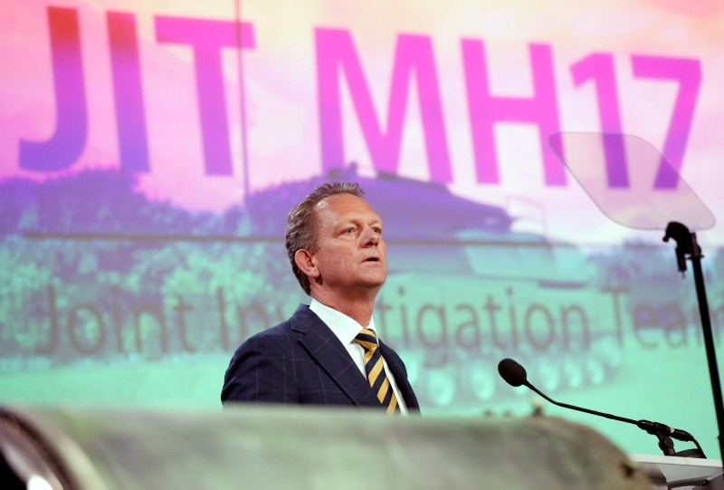 Fred Westerbeke, Chief Prosecutor of the Dutch Prosecutor's office, presents interim results in the ongoing investigation of the 2014 MH17 crash, during a news conference in Bunnik, NL, May 24, 2018. (REUTERS Photo)