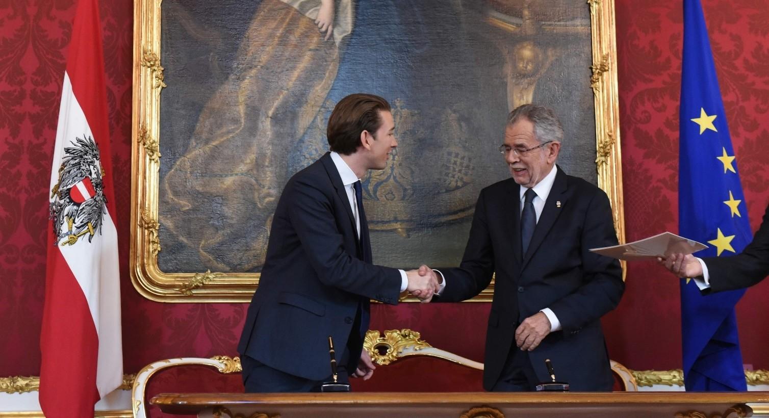 Outgoing Austrian Foreign minister Sebastian Kurz (L) and Austrian President Alexander Van der Bellen shake hands as Austria's outgoing government formally tender their resignations in Vienna, Oct. 17.