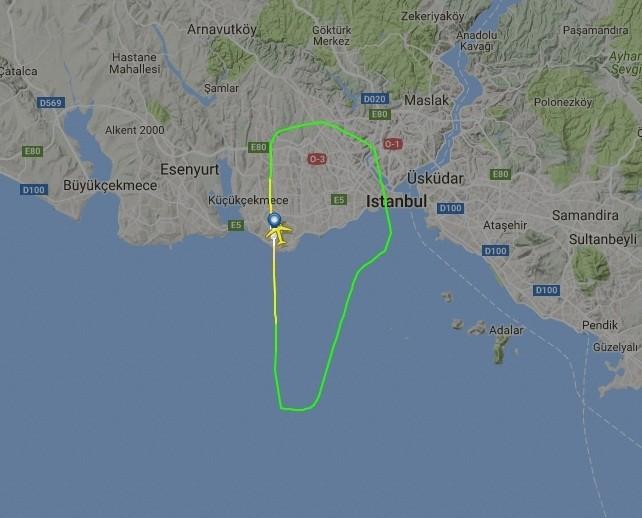 Image taken from flightradar24.com shows the flight track of Qatar Airways plane.