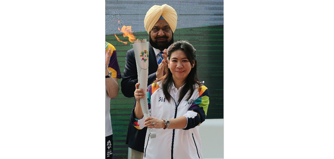Indonesian Badminton legend and Torch Ambassador Susi Susanti takes part in the 18th Asian Games Jakarta-Palembang 2018 Torch lighting and Torch relay in New Delhi, India.