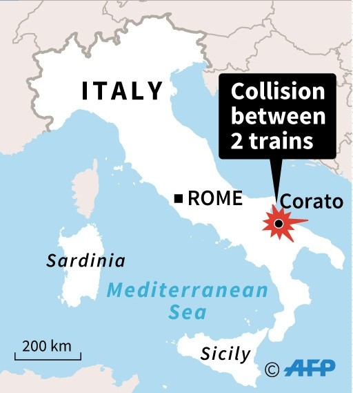 Map of Italy locating Tuesday's deadly train crash.