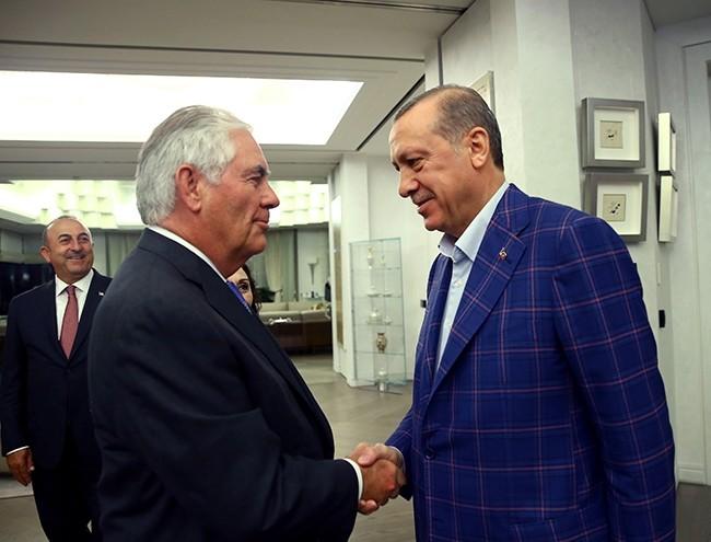 President Recep Tayyip Erdou011fan (R) meets with U.S. Secretary of State Rex Tillerson in Istanbul, Turkey, July 9, 2017. (Reuters Photo)