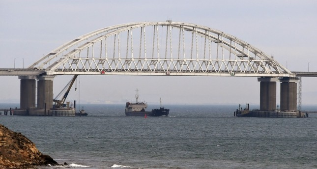 The Kerch strait is the only passage between the Black Sea and the Sea of Azov, connecting Crimea and Russia.