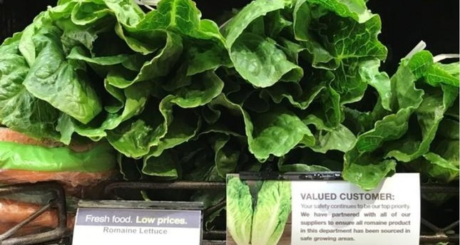 Romaine lettuce accompanied by an indication that it has been 'sourced in safe growing areas' is displayed at a super market in Los Angeles, California, May 4, 2018 EPA Photo