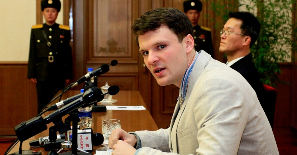 In this Feb. 29, 2016, file photo, American student Otto Warmbier speaks as Warmbier is presented to reporters in Pyongyang, North Korea (AP File Photo)