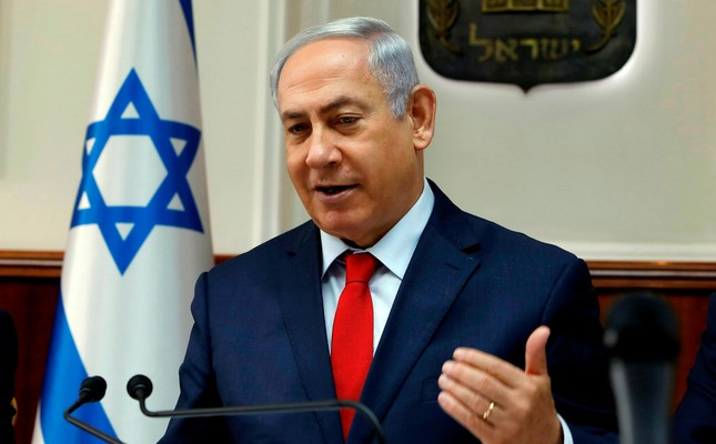 Israeli Prime Minister Benjamin Netanyahu attends a weekly cabinet meeting at his Jerusalem office, Oct. 29.