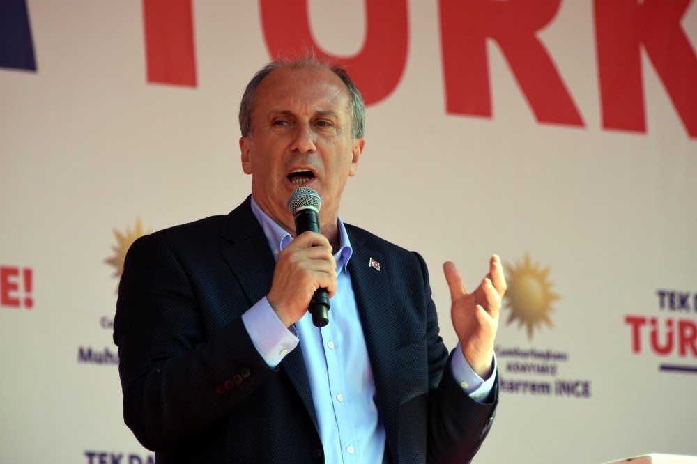 The main opposition CHP's presidential candidate Muharrem u0130nce delivers a speech in western Edirne province, May 10.