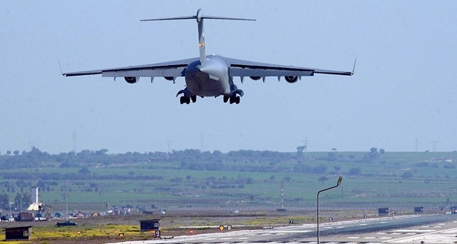 A file picture dated 11 March 2003 shows US military plane landing at Incirlik airbase, near the southern Turkish city of Adana. EPA