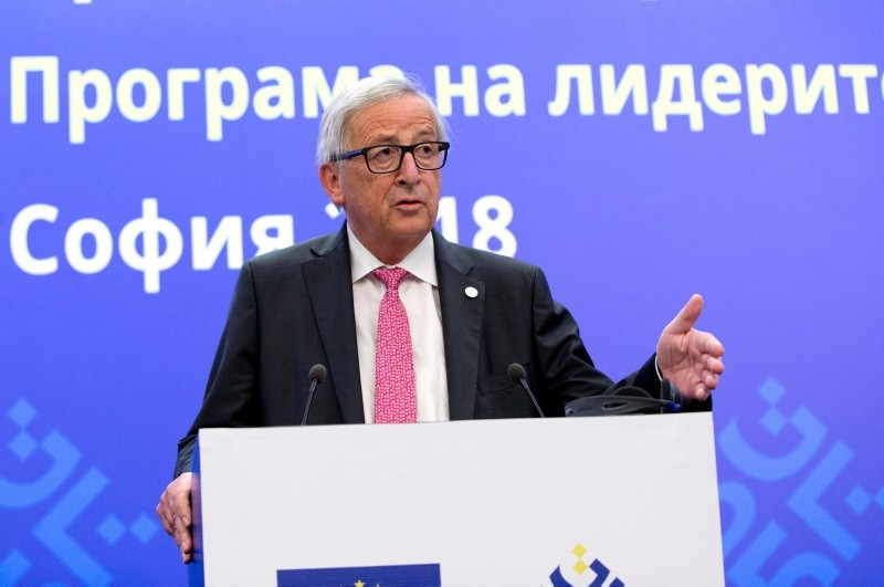 European Commission President Jean-Claude Juncker speaks during a media conference at the conclusion of an EU and Western Balkan heads of state summit at the National Palace of Culture in Sofia, Bulgaria, Thursday, May 17, 2018. (AP Photo)