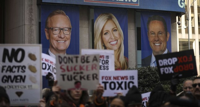 Protesters rally against Fox News outside the Fox News headquarters at the News Corporation building, March 13, 2019 in New York City. AFP Photo