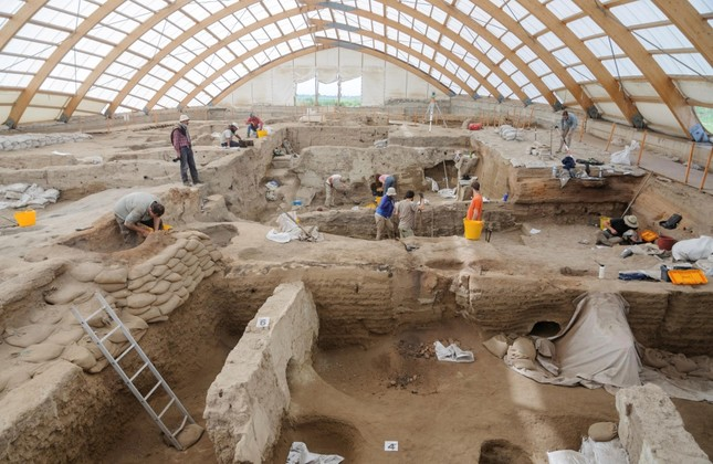 Researchers excavate the ruins of Çatalhöyük, located in present-day Konya, in this photo released on June 17, 2019.