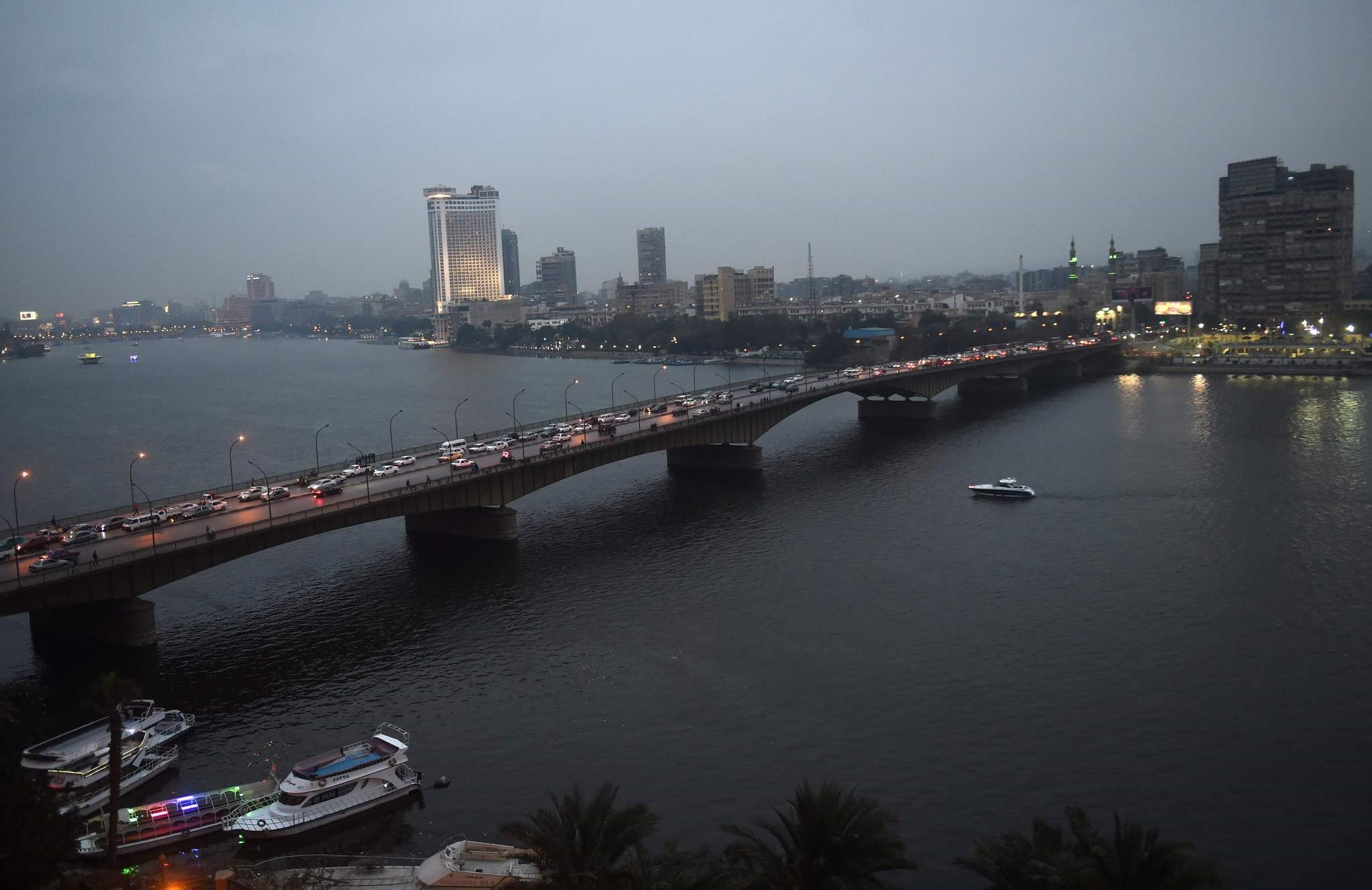 The Nile River in the Egyptian capital Cairo, Feb. 12.