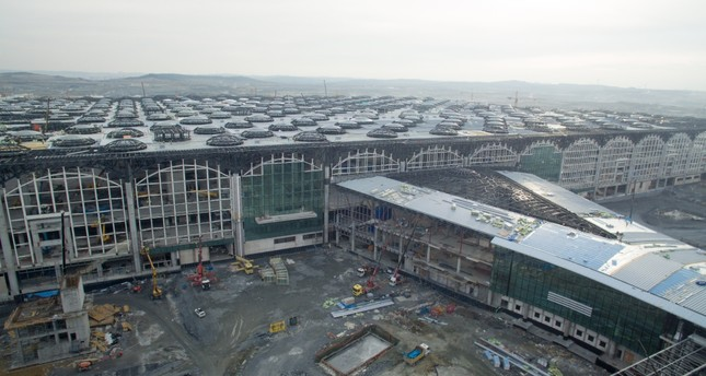 An aerial view of the terminal building at Istanbul's new Airport.