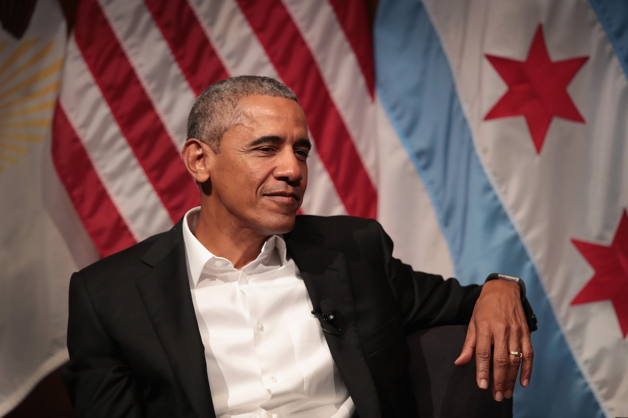 This file photo taken on April 23, 2017 shows former President Obama visiting with youth leaders at the University of Chicago to help promote community organizing in Chicago. (AFP Photo)