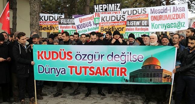 احتجاجات في مدن تركية ضد خطة ترامب بنقل سفارة بلاده لمدينة القدس