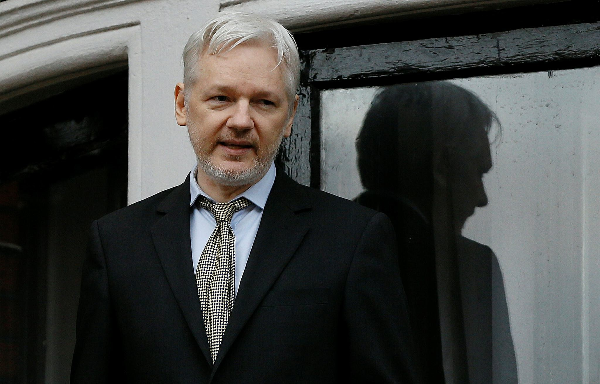 WikiLeaks founder Julian Assange speaks from the balcony of the Ecuadorean Embassy in London. (AP Photo)
