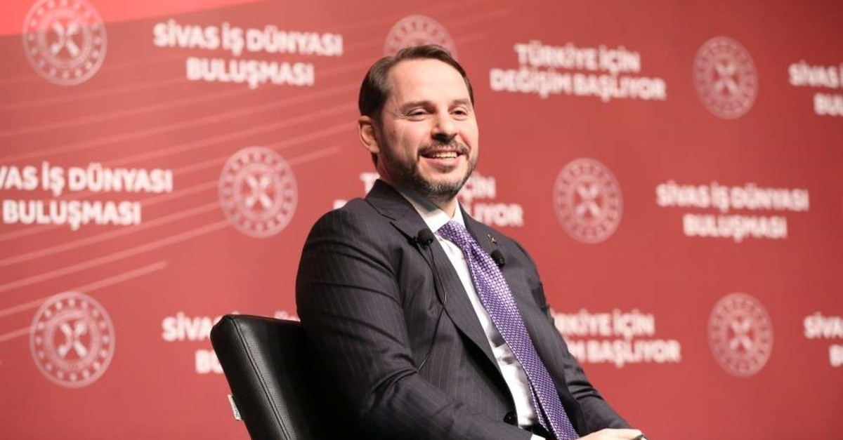This file photo dated Jan. 10, 2020, shows Treasury and Finance Minister Berat Albayrak speaking at a business summit in the central province of Sivas, Turkey. (AA Photo)
