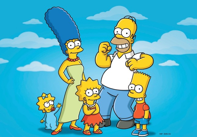 This undated publicity photo released by Fox, shows, from left, from left, Maggie, Marge, Lisa, Homer and Bart  from the animated series, The Simpsons (AP Photo/Fox)