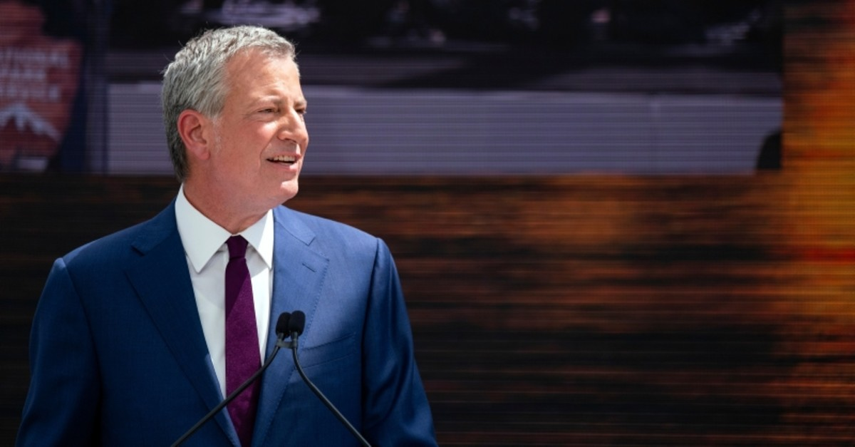 New York Mayor Bill de Blasio speaks during the official dedication ceremony of the Statue of Liberty Museum on Liberty Island Thursday, May 16, 2019, in New York. (AP Photo)