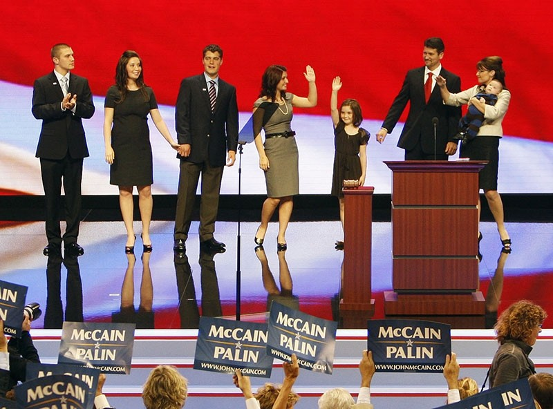 In this Sept. 3, 2008 file photo, family of Republican vice presidential candidate Sarah Palin (R) join her on stage after her speech at the Republican National Convention in St. Paul, Minn., Sept. 3, 2008. Track stands in far left. (AP Photo)