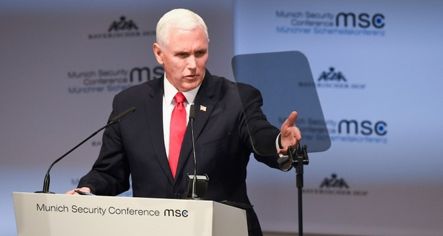 United States Vice President Mike Pence delivers his speech during the Munich Security Conference in Munich, Germany, Saturday, Feb. 16, 2019. (AP Photo)